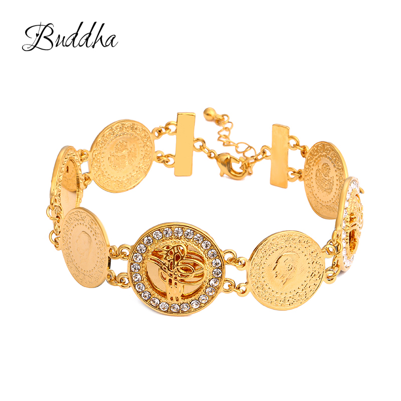 Gold Color Charm Muslim Islam  Bracelets for Women with Crystal Bangle Arab Middle East African Jewelry Ethiopian Gifts