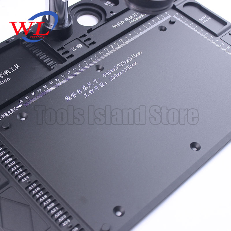 WL High Temperature Heat-resistant Heat Gun Aluminum Alloy Pad Repair Maintenance Microscope Platform Pad BGA Soldering Station
