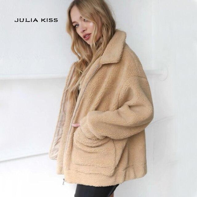 849065c1123ab0 Aliexpress.com : Buy Women Front Pocket Faux Shearling Coat ...