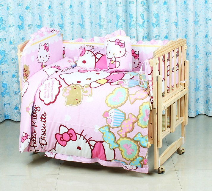 Фото Promotion! 6PCS Cartoon 100% cotton Bed Linen baby cot  bedding set unpick crib piece set (3bumpers+matress+pillow+duvet). Купить в РФ