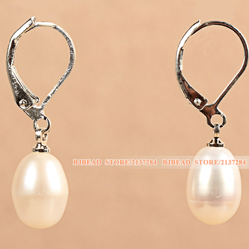 Mother Gift Pretty Popular Elegant Natural Drop Shape White Freshwater Pearl Earrings With Lever Back Hook