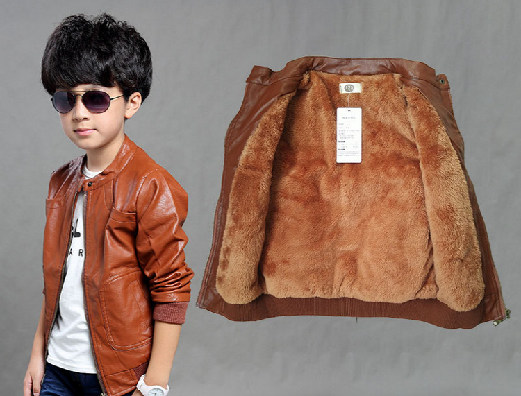Teenage Boys Autumn Jackets Warm Velvet PU Leather Double-deck Bomber Jacket Young Children Boy Outerwear And Coats 6-12Y SY pu leather and corduroy spliced zip up down jacket