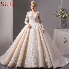 SL 6064 lüks parlak dantel balo gelinlik 2019 uzun kollu müslüman düğün gelin elbise
