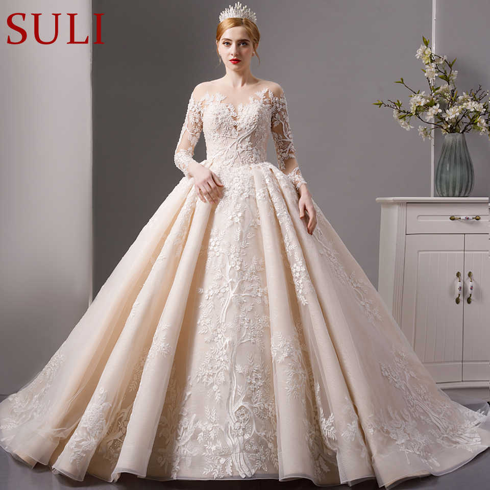 SL-6064 роскошное блестящее кружевное бальное платье Свадебные платья 2019 с длинным рукавом мусульманское свадебное платье