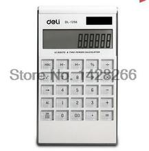 2017 Brand new Deli double power large screen calculator, high quality 1256 ultra-thin fashion type computer