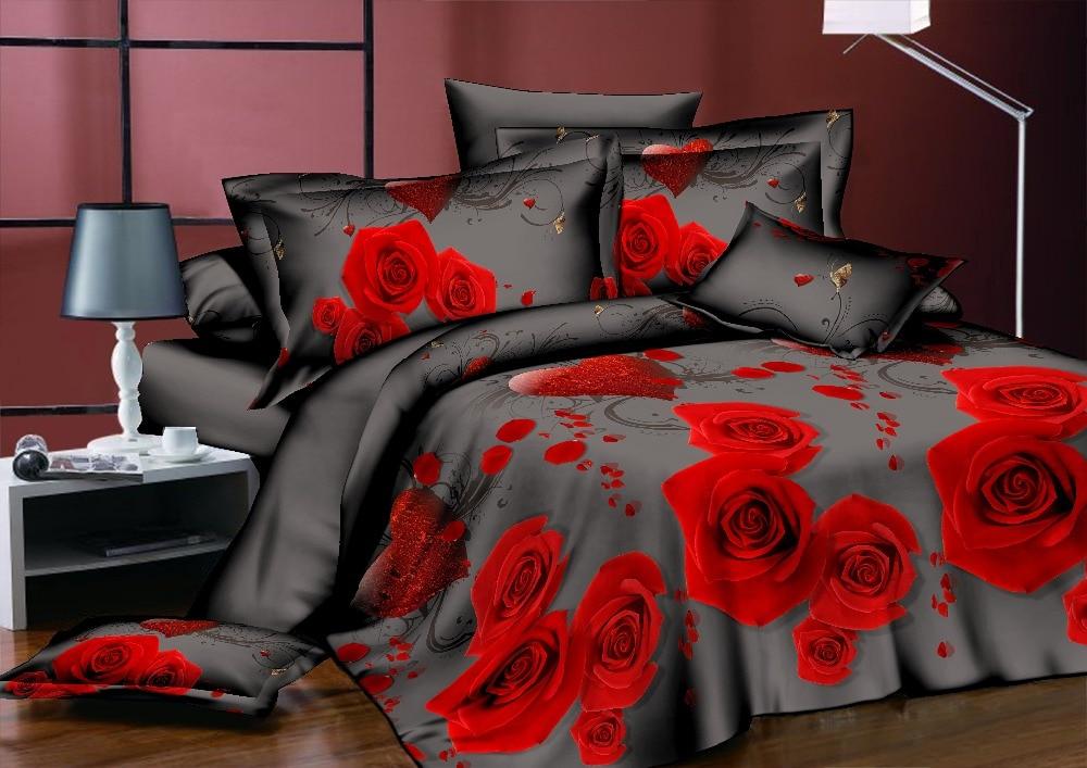 BEST. WENSD ensemble de literie classique roi reine pleine taille gris bleu fleur Rose linge de lit housse de couette ensemble AB housse de couette côté 2018 lit - 4
