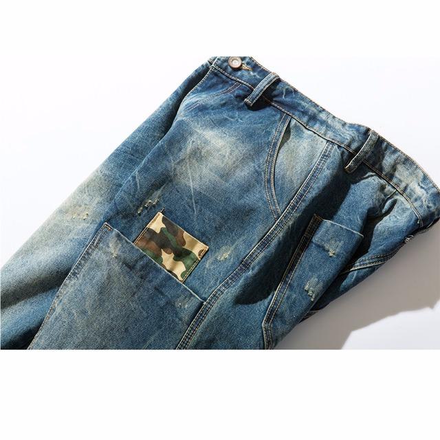 Tsingyi Men Camouflage Patchwork Do Old Style Harem Jeans Monkey Wash Homme Camo Denim Mens Joggers Streetwear 100% Cotton Pants