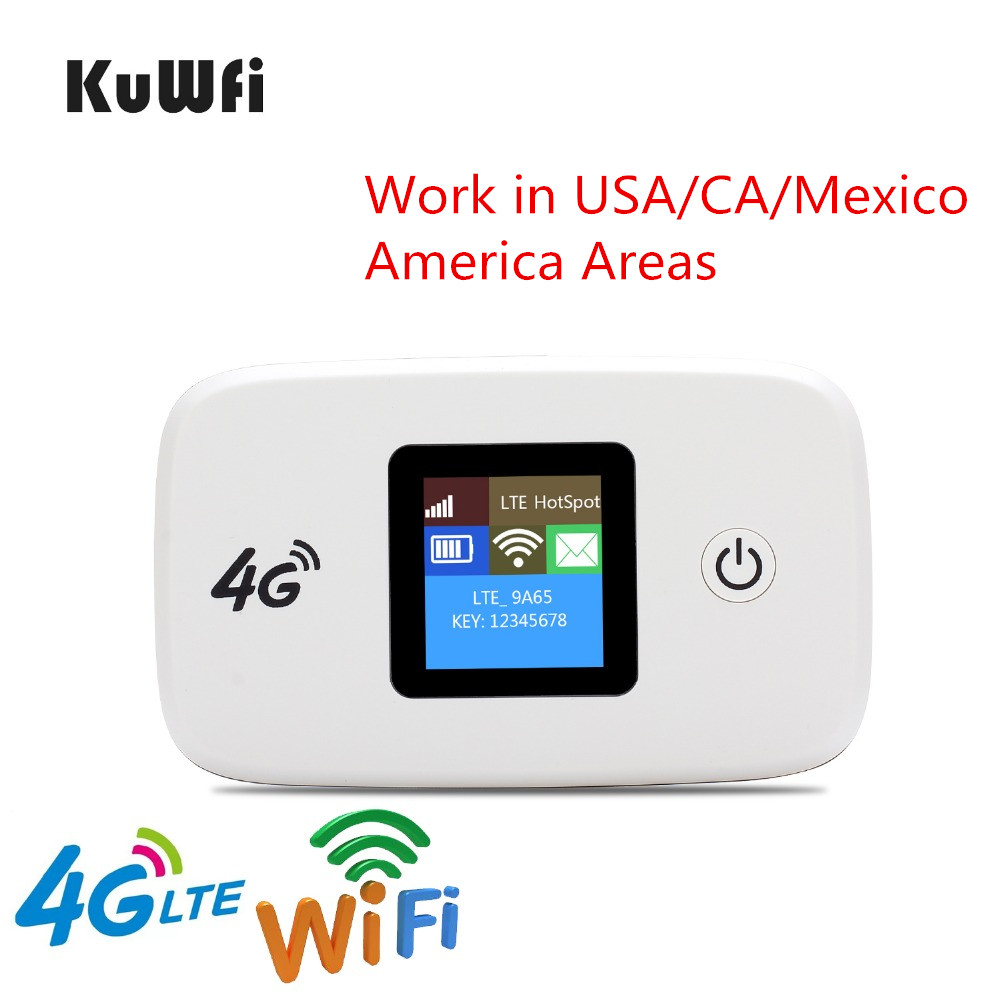 KuWfi Unlocked 100Mbps 3G 4G LTE Wifi Router Mobile Wifi Hotspot 2400mAH For USA/CA/Mexico/Jamaica/Argentina/Chile/Colombia jamaica jamaica no problem