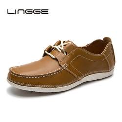 de0333b19 LINGGE 2019 Handmade Homens Sapatos Flats Couro Rachado da Vaca Dos Homens  Sapatos De Couro Lace