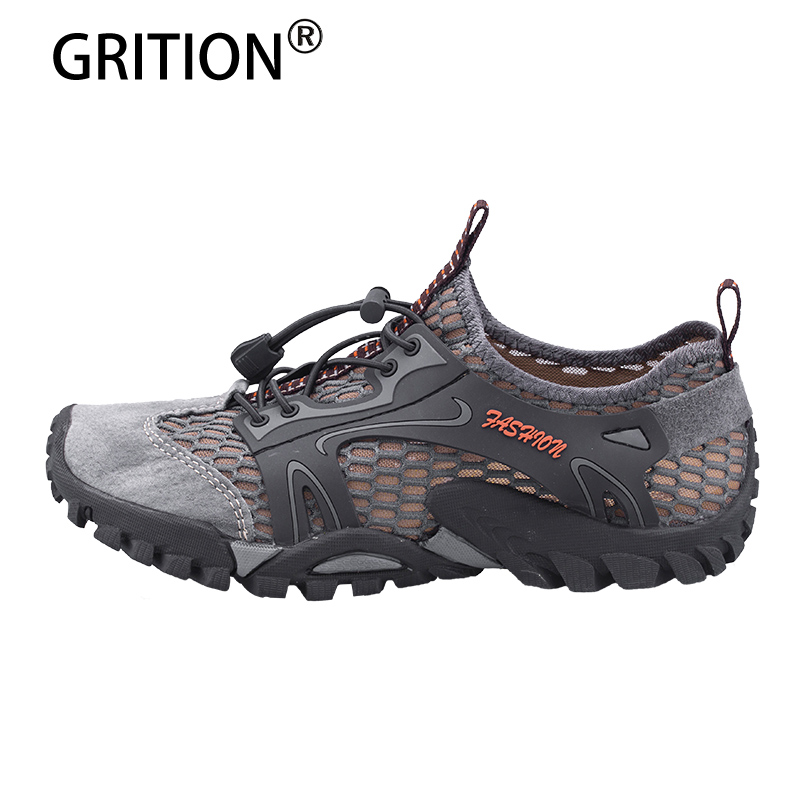 GRITION Men Sandals Male Summer Outdoor Leather Upstream Shoes Flat Walking Water Beach Breathable Comfortable Men