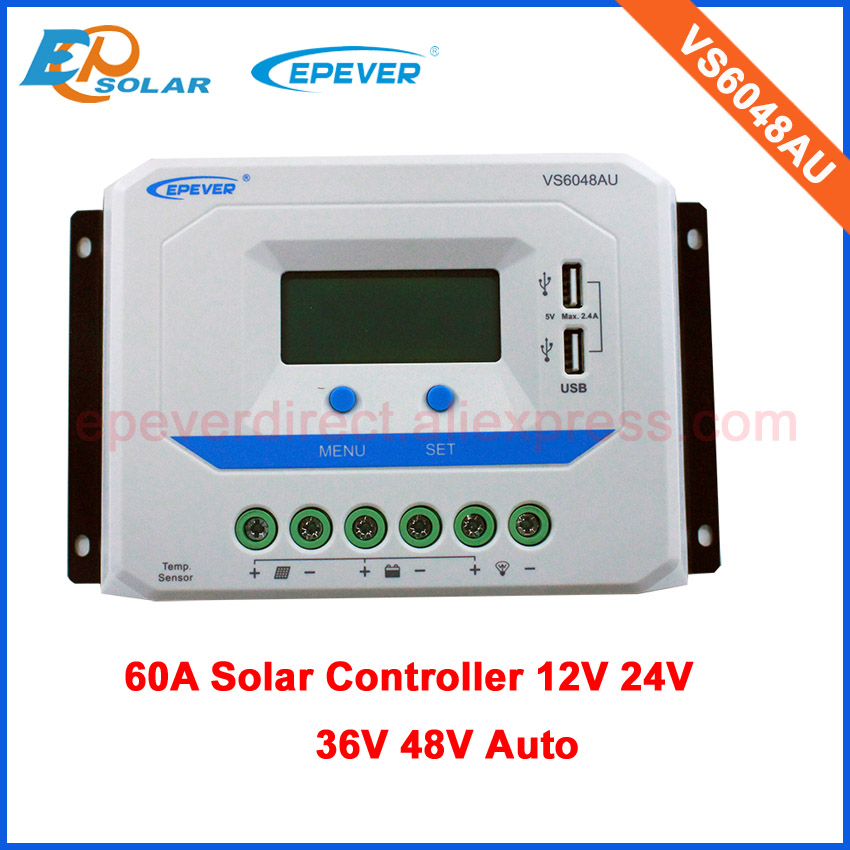 Solar cells panels regulators VS6048AU 60A EPEVER ViewStar series PWM 48V battery charging power bank 36V auto type EPsolar vs6048au 48v battery charger work solar 60a controller pwm viewstar series 36v 24v auto work epever epsolar lcd display 60amps