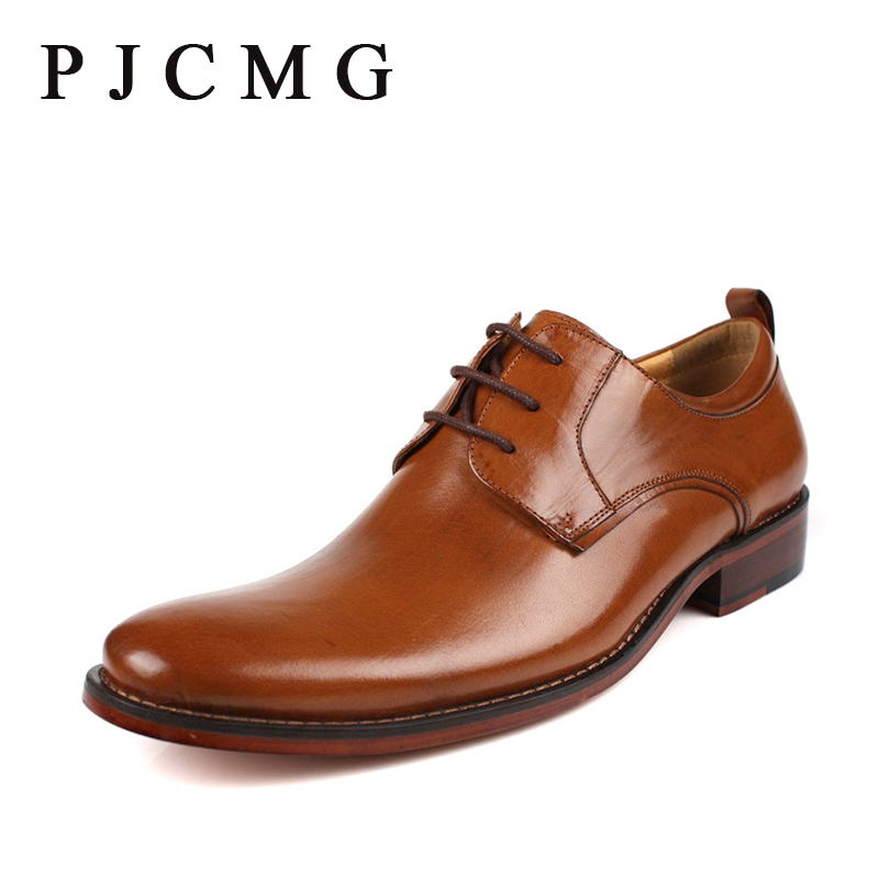 ФОТО PJCMG Brand mens dress genuine leather black/brown lace-up Pointed Toe formal business office men flats Shoes Big Size 38-46