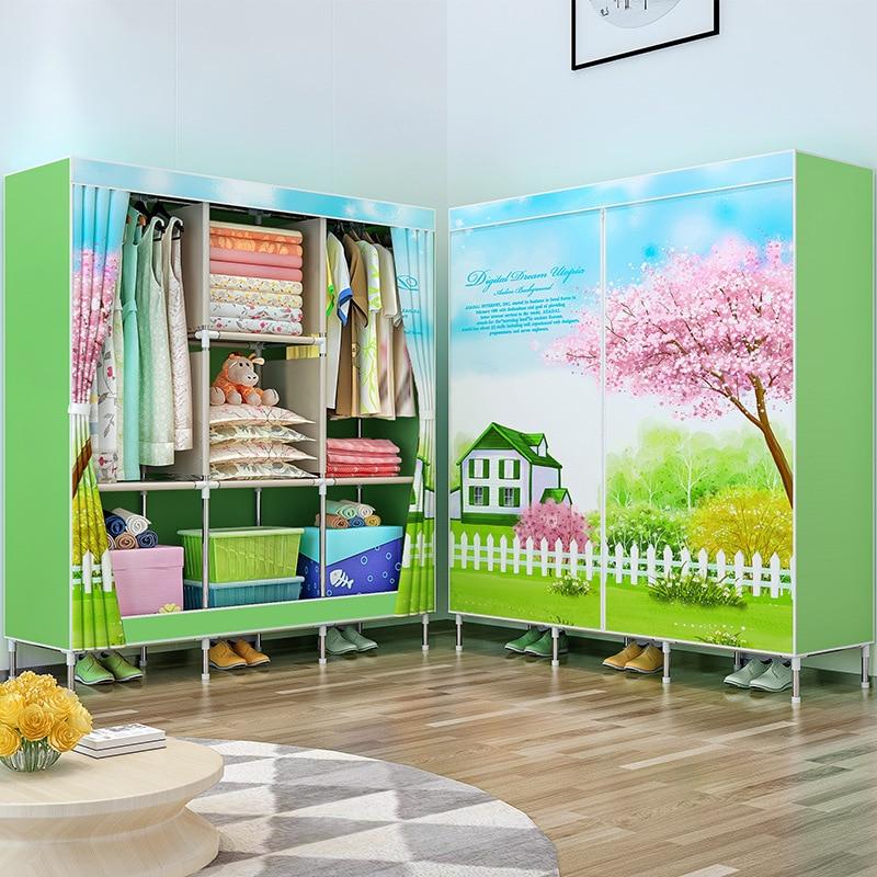 Double Pole Clothing Closet Dress Rack Bedroom Storage Organizer Cabinet Portable Folding Cloth Wardrobe for Home Furniture