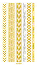 Water Transfer Tattoo Golden Gold Sliver Links Bracelet Fake Glitter Metallic Temporary Tattoo Stickers Body Art Taty