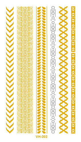 Water Transfer Tattoo Golden Gold Sliver Links Bracelet Fake Glitter Metallic Temporary Tattoo Stickers Body Art Taty
