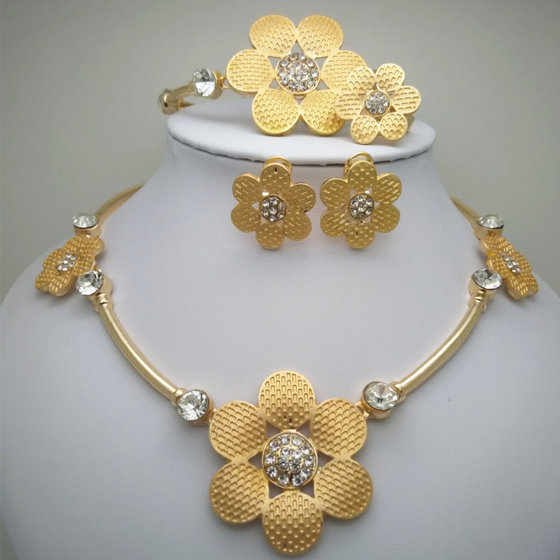 Bridal Gift Nigerian Woman Wedding African Beads Jewelry Set Ethiopian Round Gold Color Fashion Dubai Jew