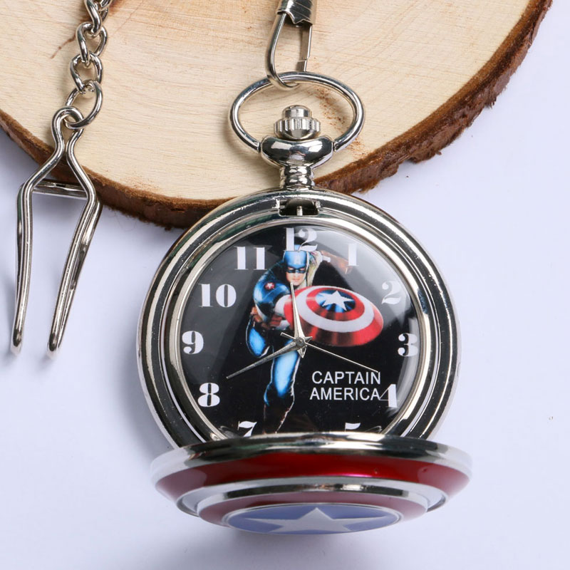 Fashion Catptain America Design Shield Pattern Quartz Pocket Watch Child Steampunk Fob Clock Men Women Gift Pendant