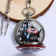 Fashion Catptain America Design Shield Pattern Quartz Pocket Watch Child Steampunk Fob Clock Men Women Gift Pendant