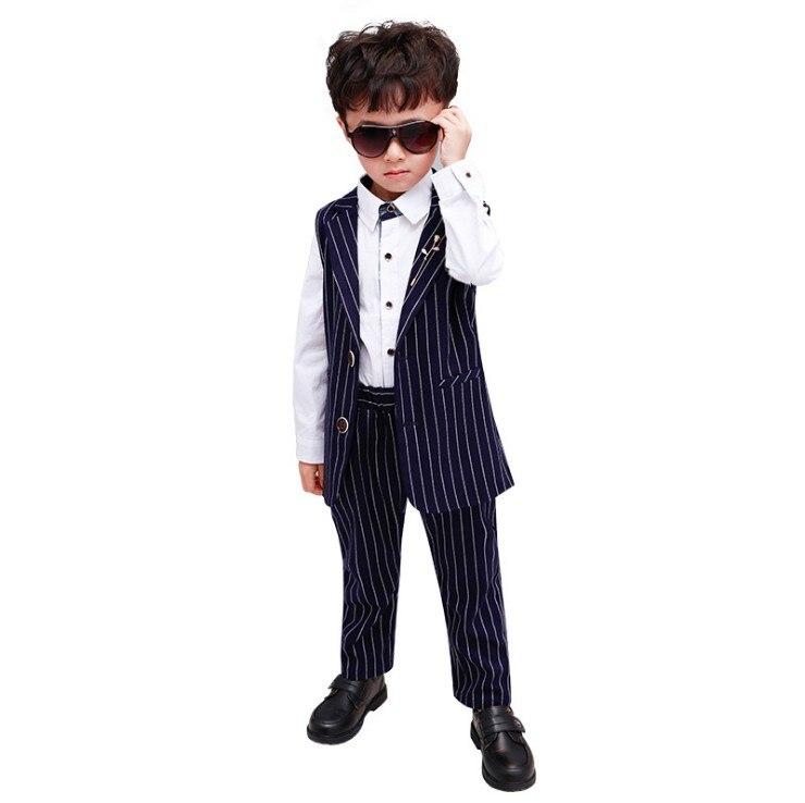 2-12y Striped Zwei Stücke Anzug Weste + Hose Baby Formale Anzug Ks-2061 In Verschiedenen AusfüHrungen Und Spezifikationen FüR Ihre Auswahl ErhäLtlich