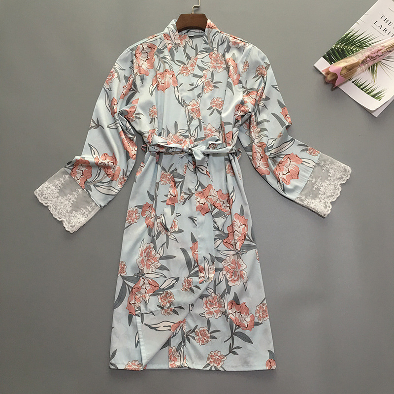 Image 4 - Summer Womens Sleep Robe Pajamas Sleepwear Lady Home Wear Nightgown Sexy Kimono Bath Gown Sleepshirts M XL-in Robes from Underwear & Sleepwears