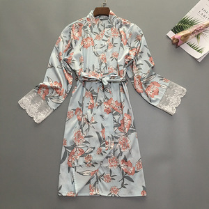 Image 4 - Summer Womens Sleep Robe Pajamas Sleepwear Lady Home Wear Nightgown Sexy Kimono Bath Gown Sleepshirts M XL