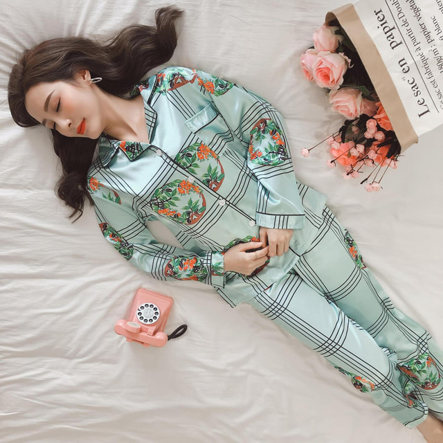 Jrmissli pyjamas women autumn thin ladies silk pajamas satin jpg 640x640 Ladies  silk nightwear 302de7ce3