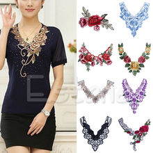 Lace Embroidered Venise Floral Neckline Neck Collar Trim Clothes Sewing Applique Ornament Fabric Stickers APR28_0