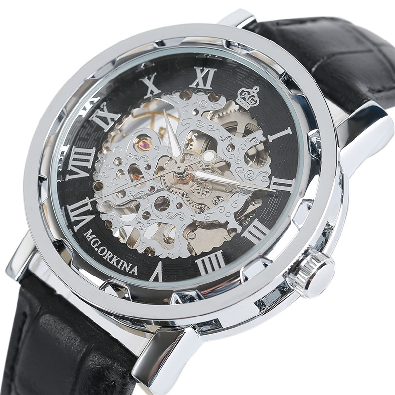 Luxury Black Skeleton Mechanical Watch Men Orkina with Leather Strap Mens Luminous Wrist Watches Relogio Masculino Hot orkina luxury brand men skeleton mechanical wrist watch leather strap male semi automatic watches christmas gift for men box