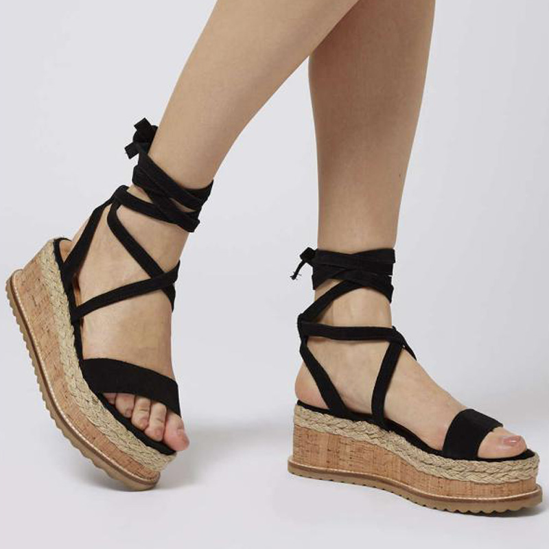 Platform Sandals Lace-Up Women Creepers Casual-Shoes Open-Toe Plus-Size Summer 35-43