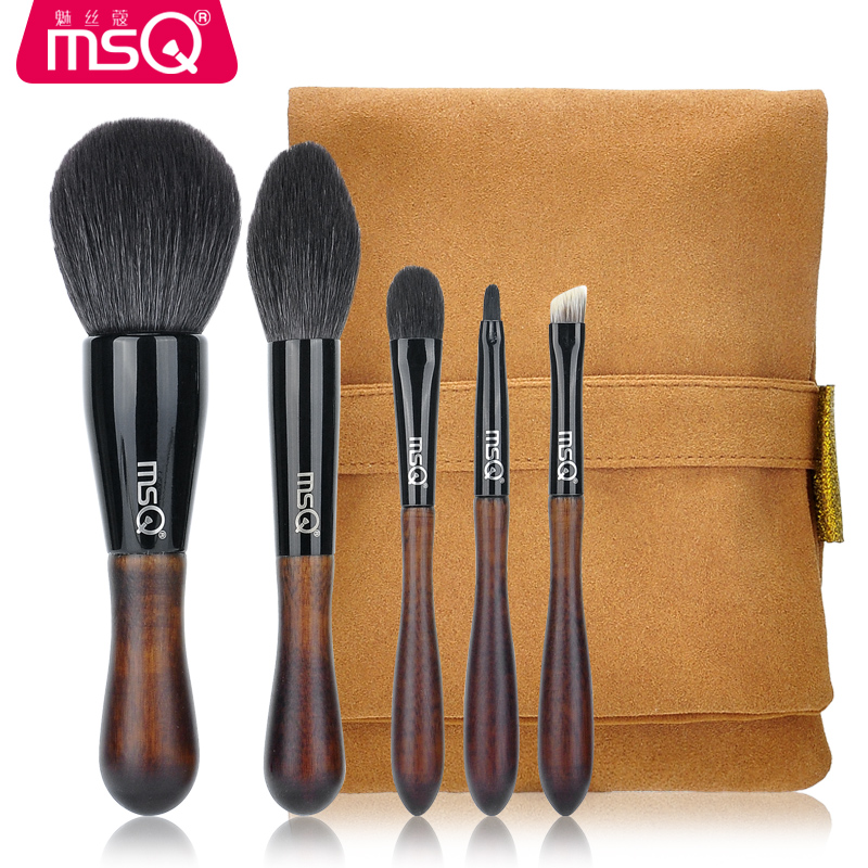 MSQ 5pcs Professional High-quality Raccoon fur Brushes kit Powder makeup brush Eyebrow brush Wool Eye shadow brush Makeup tools