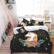 3Pcs Colorful Cartoon Unicorn Bedding Set Floral Stars Print Duvet Cover Girls Princess Quilt Polyester Bedclothes D35