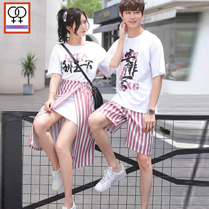 Matching Couple Clothes Two Pieces Sets Summer T-Shirts Tees O Neck Letter Printed Cotton White Korean Couple T Shirt Outfits