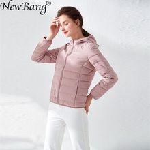 女性のダウンジャケット超軽量アヒルダウン女性マット生地軽量コートフード付き女性ウインドブレーカーパーカープラスコート NewBang