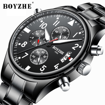 BOYZHE Men Quartz Watches Fashion Multi-function Light Stainless Steel Luxury Brand Sports Military WristWatch Relogio Masculino