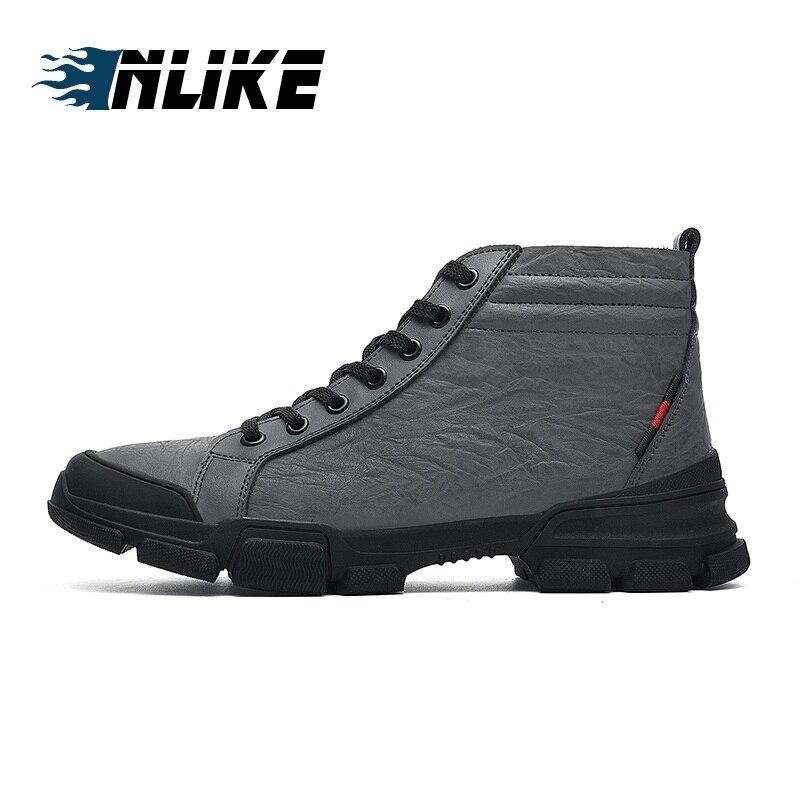 Mâle gris Bottes Arrondi Véritable À Bottines Chaussures Supérieure Lacets Cuir D'entraînement Qualité Bout Hommes En Noir Inlike IWD29EYH