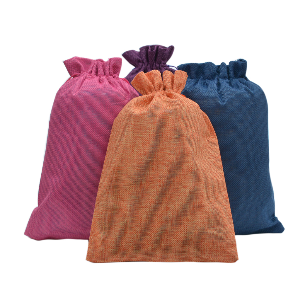 50pcs Large Double Hessian Burlap Jute Drawstring Bags For Coffee Bean Shoes Scarf Travel Party Wedding Favors Holder 20x30cm