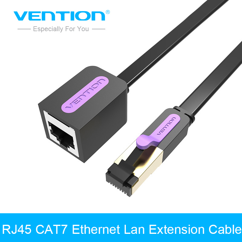 Vention RJ45 CAT 7 Male to Female Ethernet Lan Network Extension Cable Lan Network Adapter 1m 1.5m 2m 3m 5m Cord for PC Laptop bnc female to rj45 network testing cable black