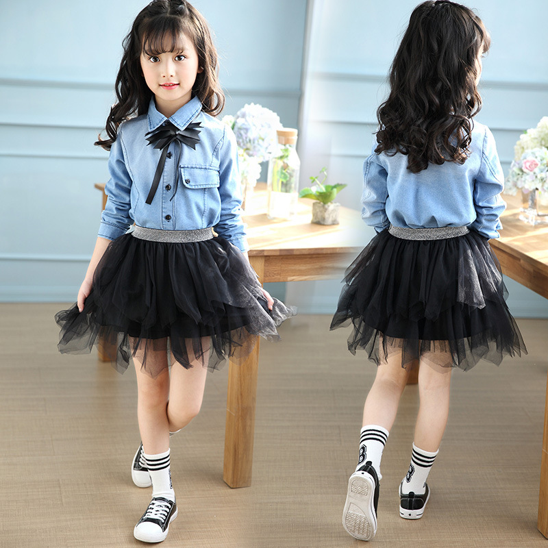 Girls Clothes Brand Children Clothing Denim T-Shirt + Lace Skirts 2Pcs Girls Clothing Sets Spring Kids Tracksuits For Girls spring autumn pikachu brand children boys girls clothes sets boys hooded t shirt jean 2pcs set children denim tracksuits for boy