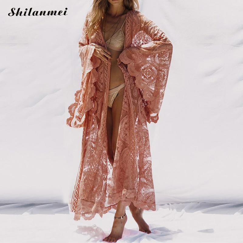 Mode Femmes Flare Manches Perspective Dentelle Long Cardigan Kimono Casual 2018 D'été Plage Cover Ups Rose Protection Solaire Vêtements