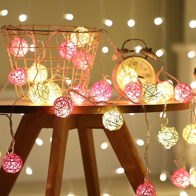 LED Christmas Outdoor String Light 20 White Pink Rattan Balls Wedding Fairy Holiday Garden Room Decor Garland Light