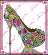 Aidocrystal colorful crystal diamond fashiion latest design lady shoes,handmade rhinestone women shoes high heel