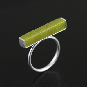 ACECARE silver ring/925 Pure Silver Jewelry Wholesale Simple Inlaid Olive Jade Ring Women's 2019 Fashion personality