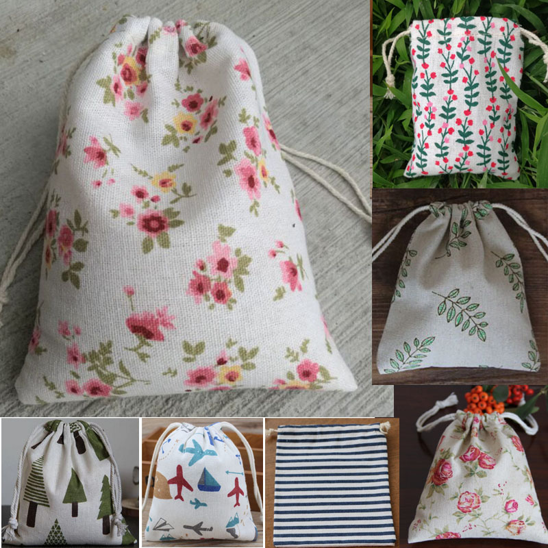Small Printed Linen Drawstring Pouch 8x10cm(3''x4'') pack of 50 Earring Ring Stud Jewelry Makeup Jute Gift Packaging Bag