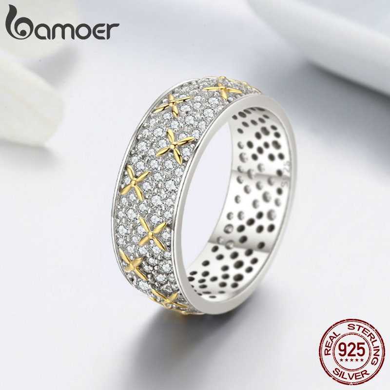 Image 3 - BAMOER Real 100% 925 Sterling Silver Luminous CZ Firefly Lightning Bug Finger Rings for Women Cocktail Engagement Jewelry SCR241-in Rings from Jewelry & Accessories