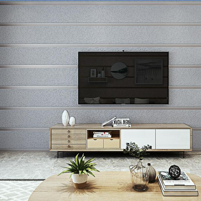 Modern Luxury 3D striped wallpaper Suede wallpaper Living room bedroom sofa TV wallpaper Modern minimalist silver grey