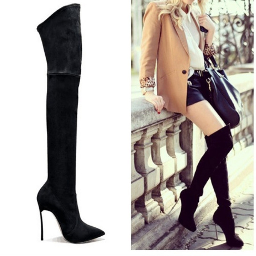 Big Size 43 Bottines Femme Over The Knee Boots Long Boots High Heels Shoes Women Pumps Thigh high Boots Women's Winter Boots women boots long autumn winter thigh high boots lace up over the knee boots ladies platform high heels big size 43