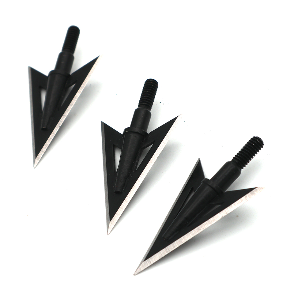 6pcs 100 Grain  2 Blades Fishing Arrow Heads Sharpening Fishing Arrow Tip Point For Compound / Recurve / Crossbolt Bow Finshing