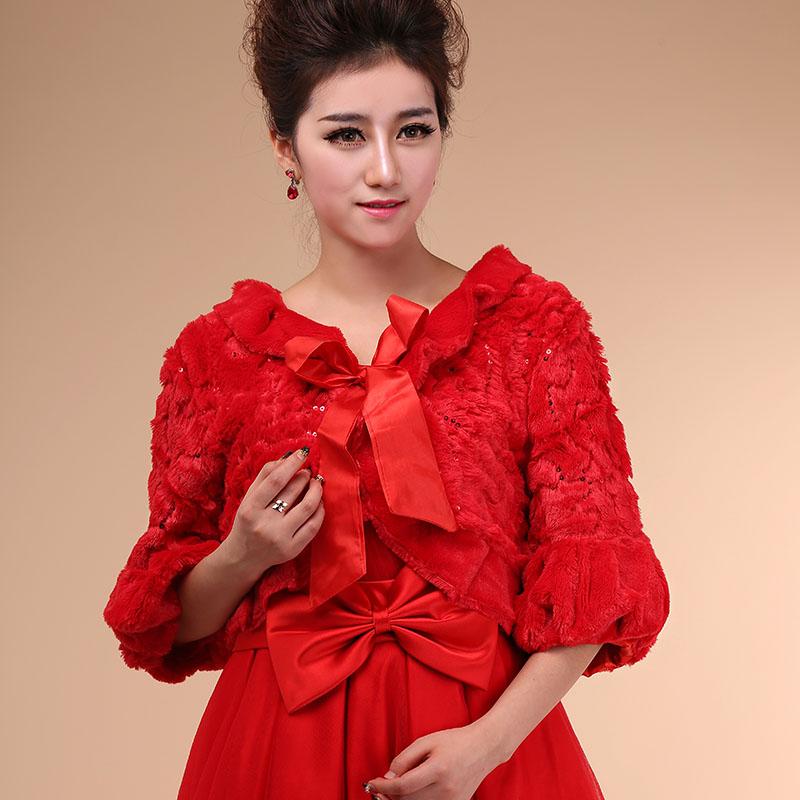 2016 Bride Red Ivory Cape Winter Formal Dress Shrug Wedding Dress