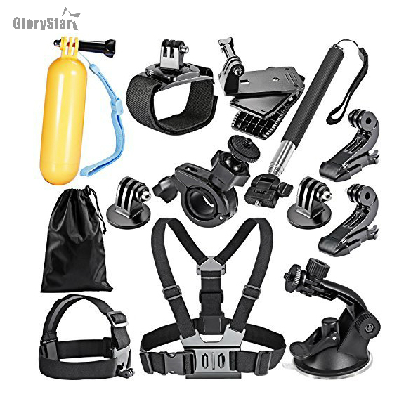 16-In-1 Sport Accessory Kit for GoPro Hero4 Session Hero Series for Xiaomi Yi in Skiing Climbing Bike Camping Diving and ATS