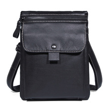 Men Black  Cow Leather Casual Messenger Crossbody Waist Bag 2018 Man  Real Leather Business Luxury Brand Designer Shoulder Bags